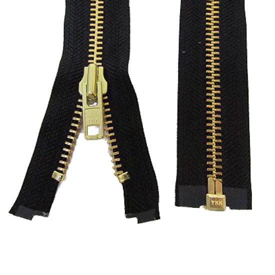 Zips Metal Open Ended Black Brass