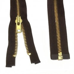 Zips Metal Open Ended Brown Brass